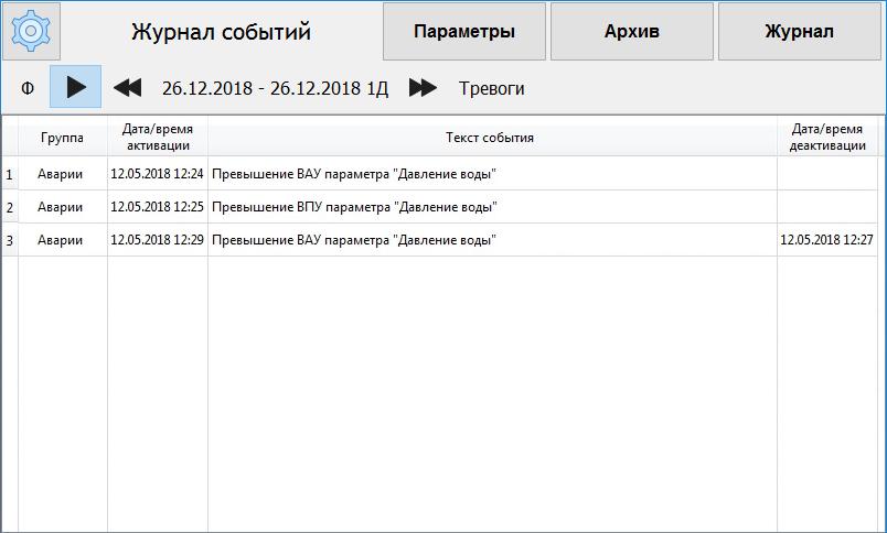 Экран «Журнал событий»
