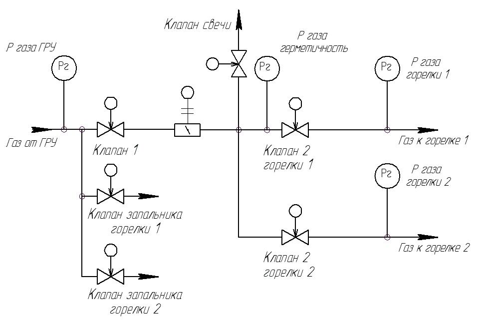 Газовая схема с общим первым